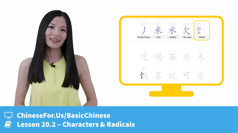 Lesson 20.2. Learn to write Chinese characters for like, eat and drink. Understand character construction and their Radicals with video and quizzes!